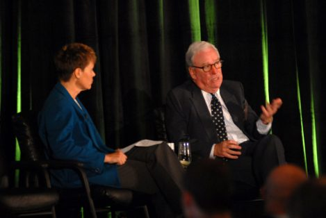 Michael Peevey, President, California Public Utilities Commission (right) is interviewed by Rebecca Smith, Reporter, The Wall Street Journal. Courtesy of Dow Jones Events/Flickr