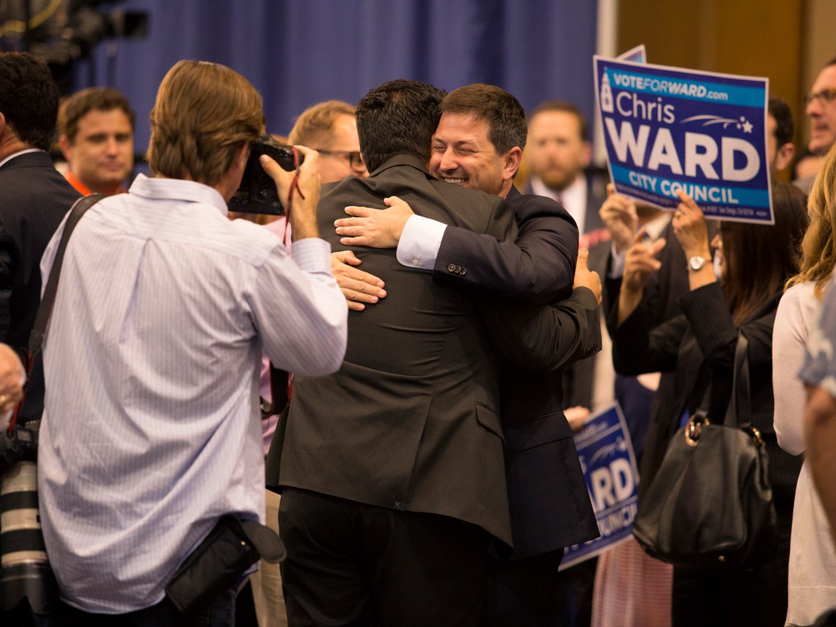 City Council candidate Chris Ward celebrates his victory in the June 7, 2016 primary election at San Diego's Golden Hall. June 7, 2016. Megan Wood, inewsource.
