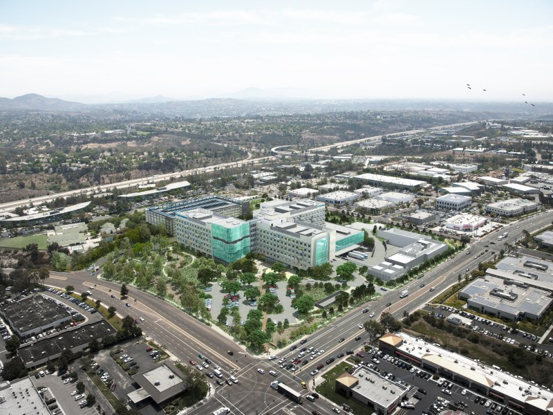 An artist's rendering of the new Kaiser Permanente hospital in San Diego, looking southeast from the intersection of Clairemont Mesa Boulevard and Ruffin Road. The hospital is expected to open in 2017. Courtesy image from Kaiser Permanente.
