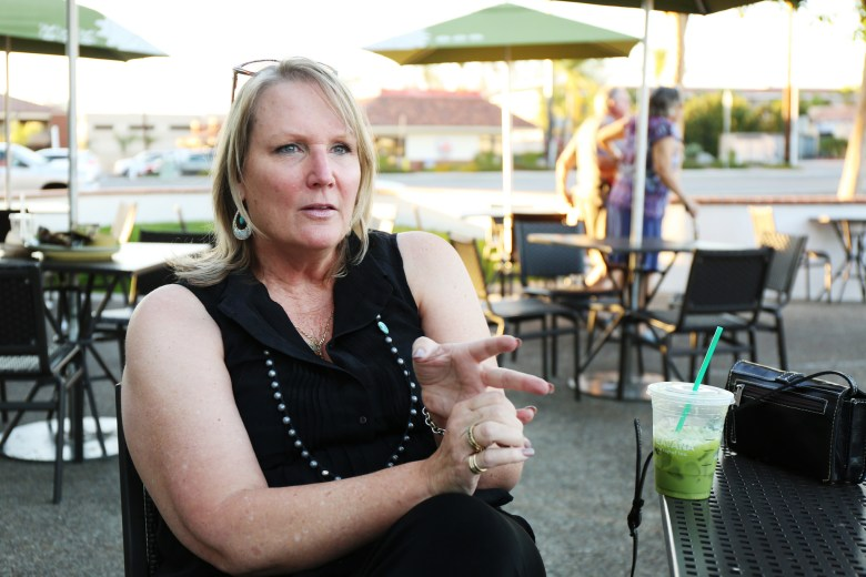 Nancy Layne, a Lilac Hills Ranch supporter, outside of a restaurant in Escondido. Layne recently filed a complaint against CLEAR with the state's elections watchdog. Oct. 21, 2016. Megan Wood, inewsource.