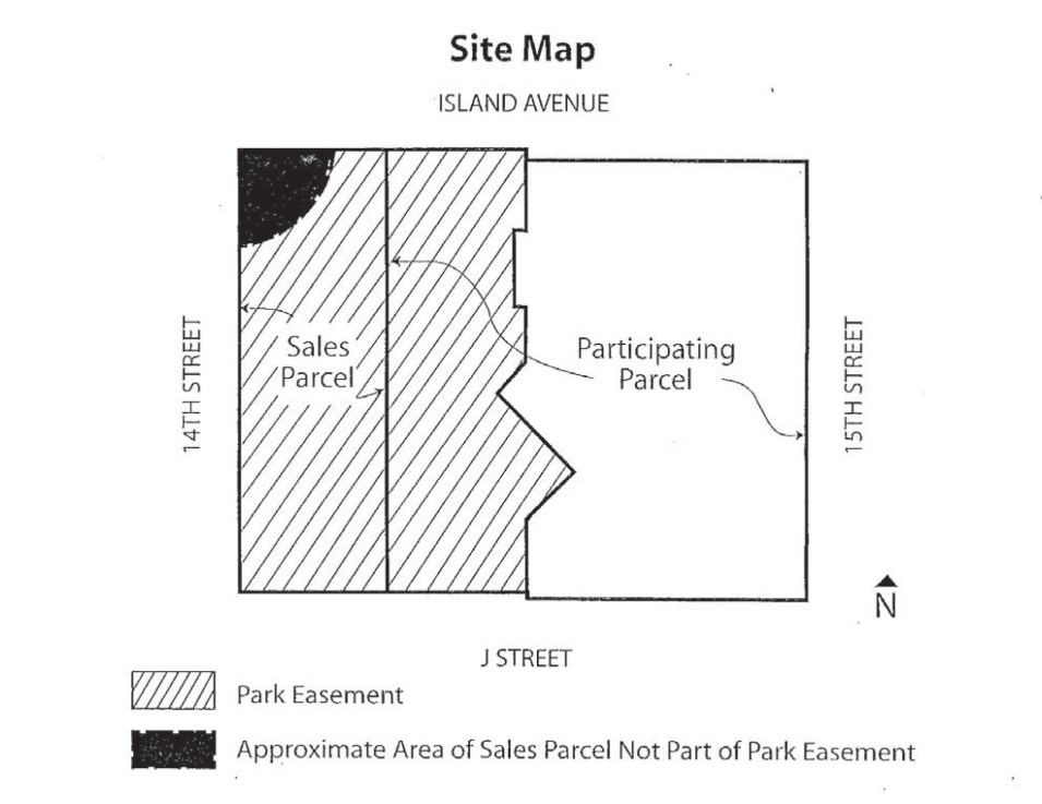 The map of the sales parcel purchased by Pinnacle Bayside Development. Courtesy of Civic San Diego.