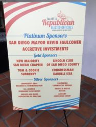 A sign recognizes the sponsors of the Salute to Republican Elected Officials event. Sept. 24, 2016. Photo courtesy of James Gordon.