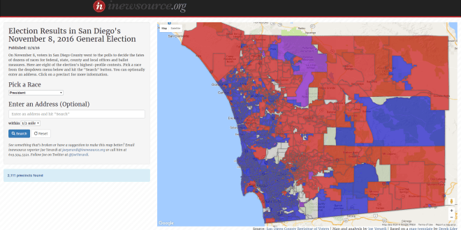 Election By The Numbers San Diego News From Inewsource - 11 8 2016 us electkion returns map