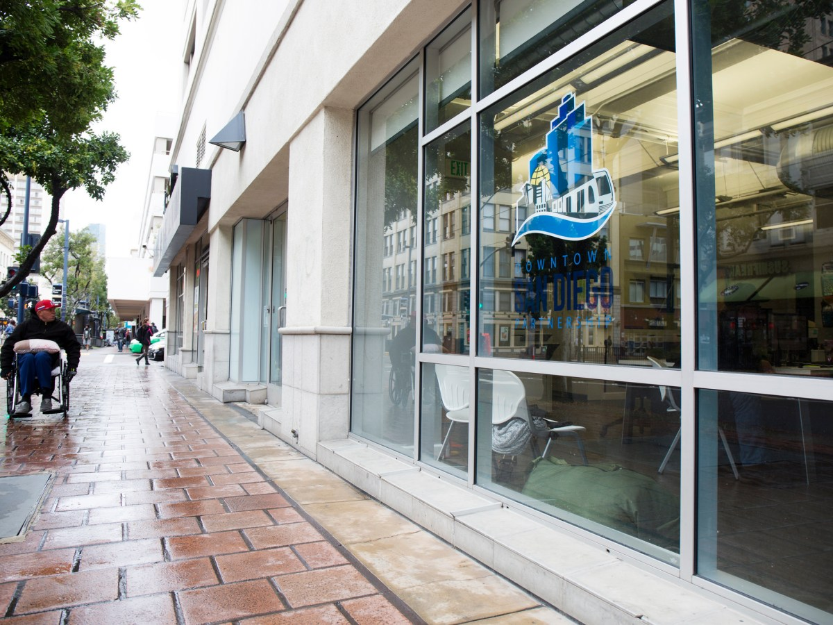 The Clean and Safe office in Downtown San Diego where homeless can meet with outreach coordinators to see if they qualify for a free bus ticket. Jan. 23, 2016. Megan Wood, inewsource.