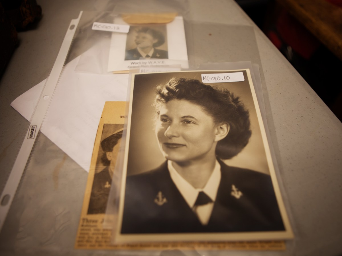The Women's Museum of California archive includes this headshot of Grace Robinson who served in the WAVES, a U.S. Navy's women's reserve program during World War II. Upgrades to the archive are being paid for with help from a National Endowment for the Humanities grant. Feb. 15, 2017. Leonardo Castaneda, inewsource.