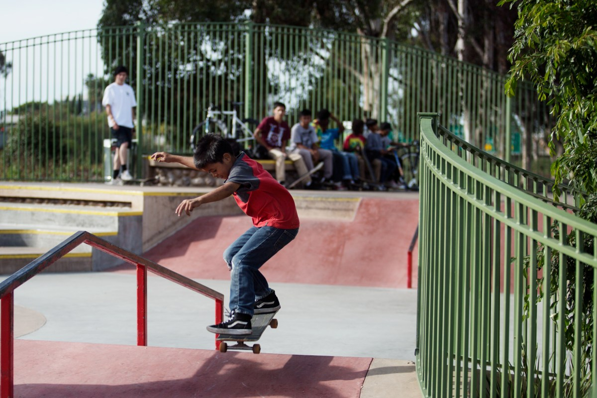 Kids skateboard at a City Heights skatepark. The parks provide open space and a safe place for kids to exercise, which is important for life expectancy. April 6, 2017. Megan Wood, inewsource