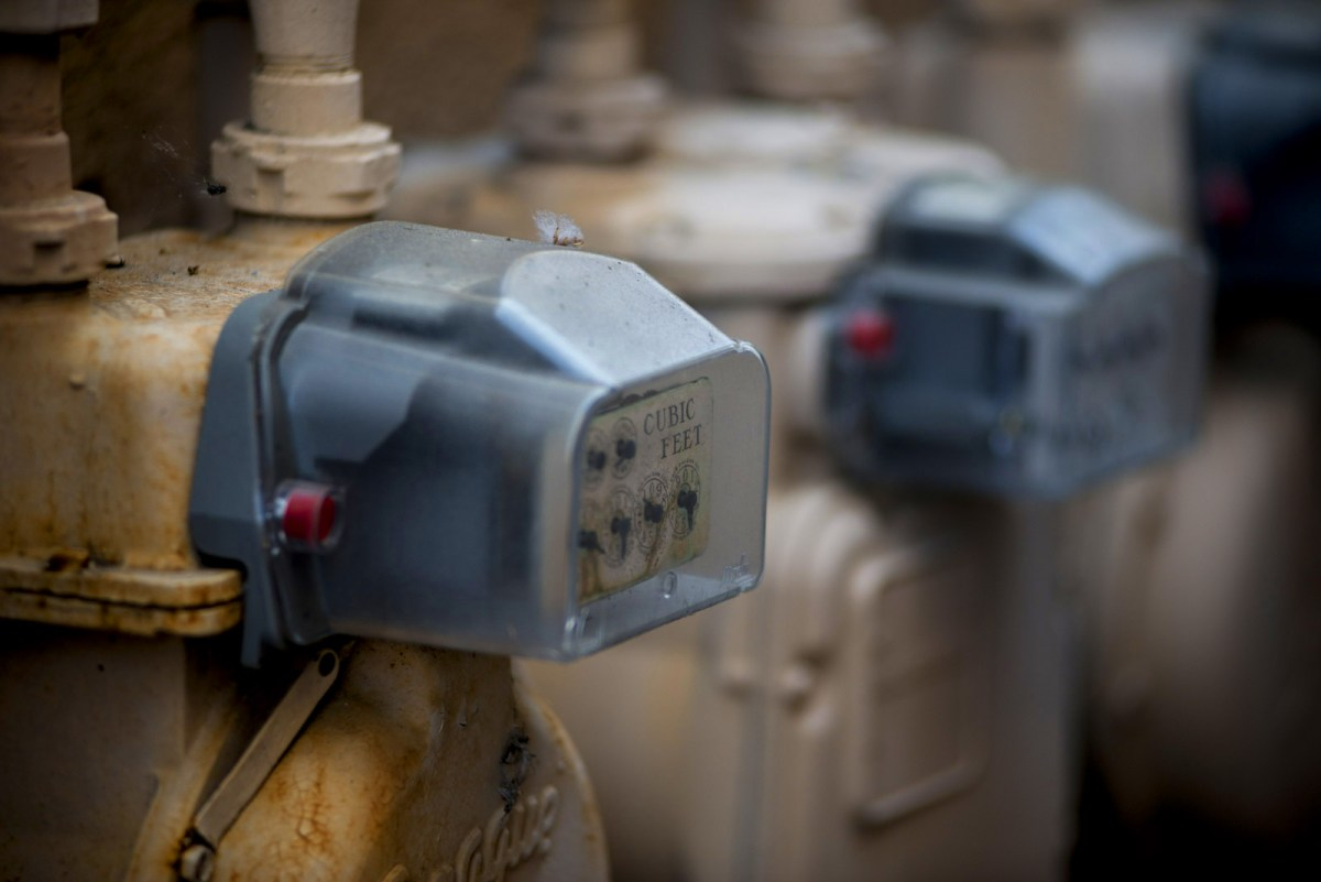 Natural gas meters measure gas used for heating, hot water and cooking. Some say to address climate change residential natural gas should be phased out, now that electricity has become cleaner. (Brandon Quester / inewsource)