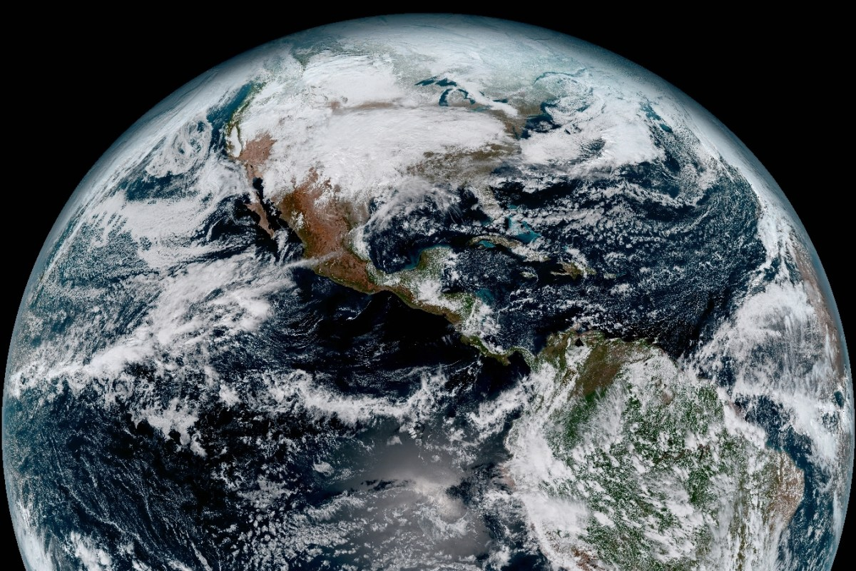 The Pacific Ocean, Americas and Atlantic as viewed by the GOES-16 advanced geostationary weather satellite. The NASA-built spacecraft, launched Nov. 19, 2016 and operates approximately 22,300 miles above Earth. Credit: NOAA/NASA