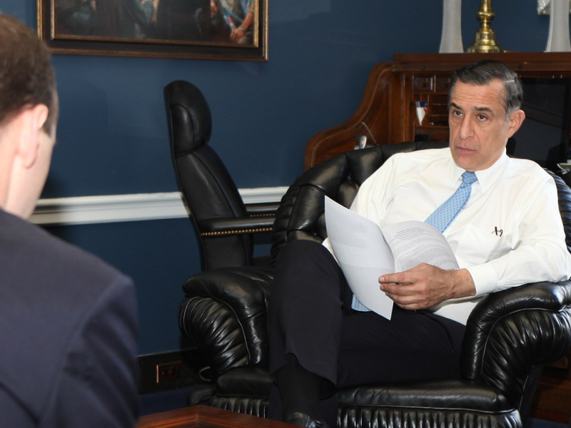 Rep. Darrell Issa, R-Vista, listens during a meeting at his office in Washington, D.C., on Dec. 7, 2017. (Courtesy Rep. Issa/Flickr)
