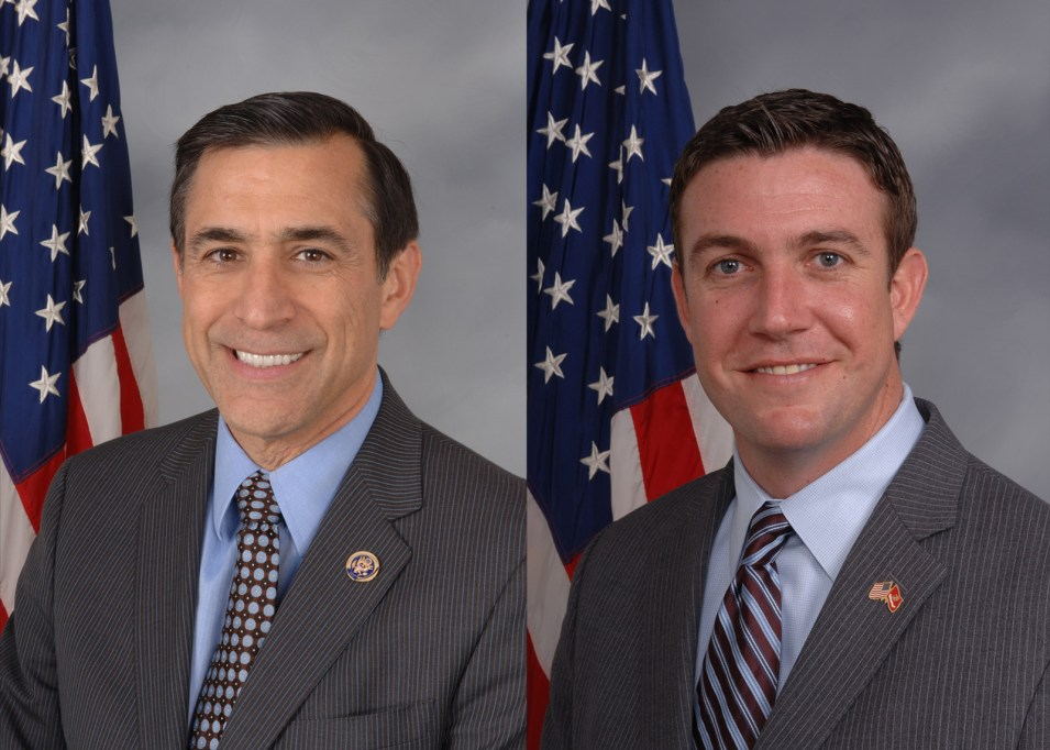 From left, Rep. Darrell Issa, R-Vista, and Rep. Duncan Hunter, R-Alpine. Photo courtesy U.S. House of Representatives