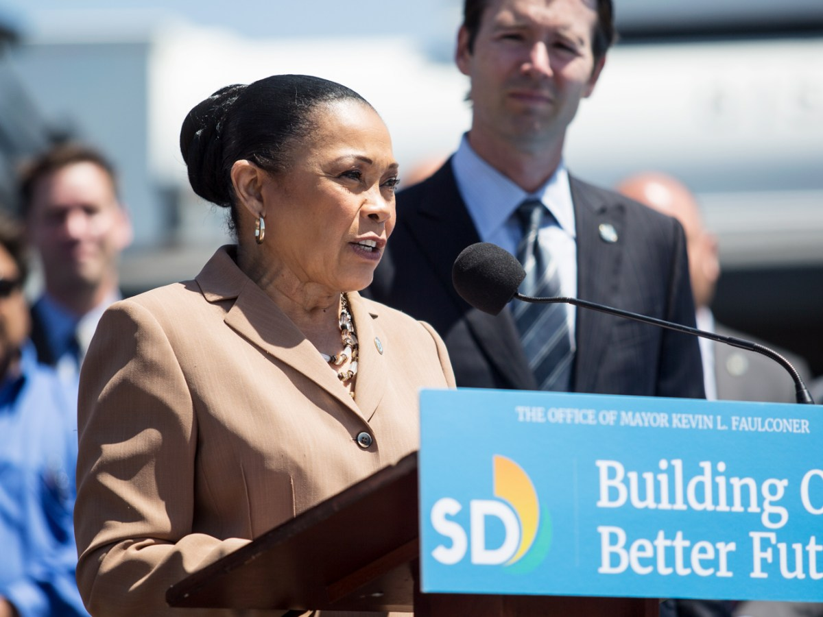 San Diego Councilwoman Myrtle Cole is shown speaking at a news conference in southeastern San Diego on June 13, 2018. (Megan Wood/inewsource)