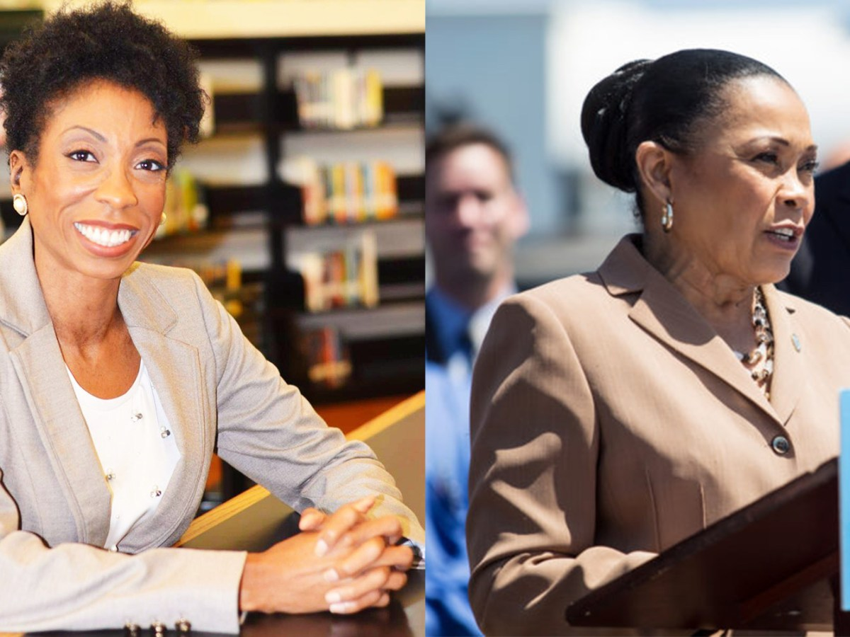 San Diego City Council candidate Monica Montgomery, left, is shown in a courtesy photo, and Councilwoman Myrtle Cole speaks at a news conference. (Left: Courtesy of Monica Montgomery campaign | Right: Megan Wood/inewsource)