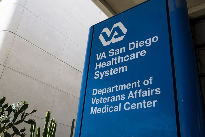 A sign at the San Diego VA Medical Center is shown on Nov. 2, 2018. (Megan Wood/inewsource)