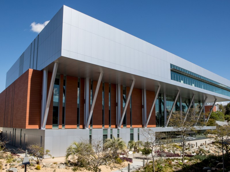 The outside of the $67 million Palomar College Library is shown on Feb. 16, 2019.