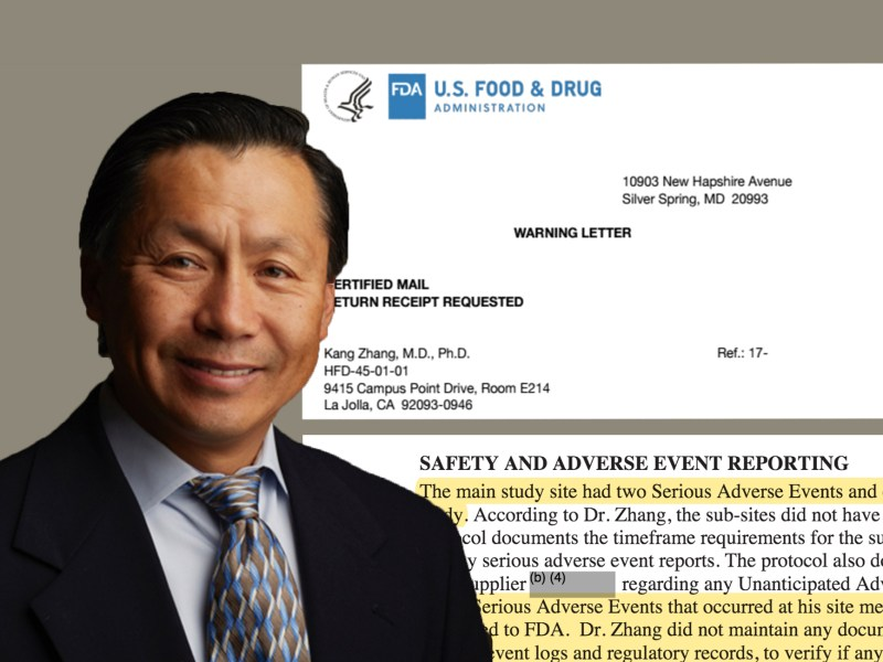 A photo illustration of Dr. Kang Zhang, chief of eye genetics at the University of California San Diego, with parts of a warning letter and an inspection report from the FDA about his research. (UCSD, inewsource)