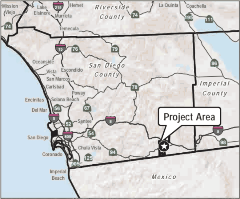 An image from the environmental review prepared by consulting firm Dudek for San Diego County shows the Campo Wind project's location on the Campo Indian Reservation in southwest San Diego County. (Courtesy of San Diego County)