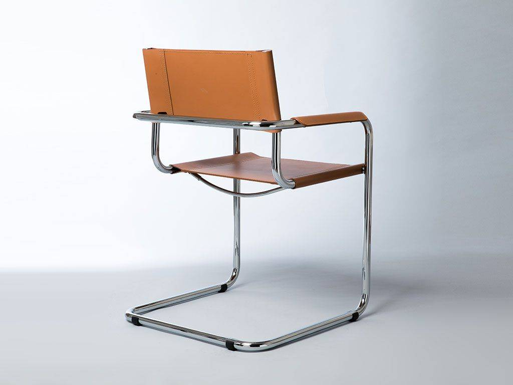 Metal And Leather Chair Mart Stamm Chair With Armrests In Chromed Metal And Leather