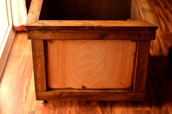 stained toy chest