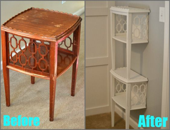 before and after table to shelf