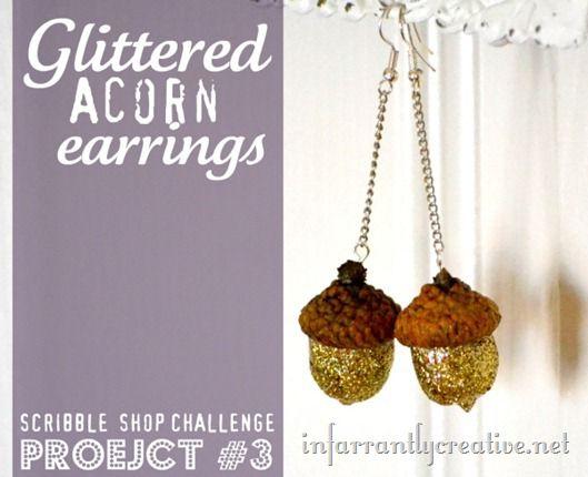 glittered-acorn-earrings