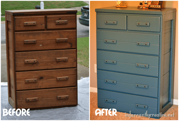 blue dresser before and after