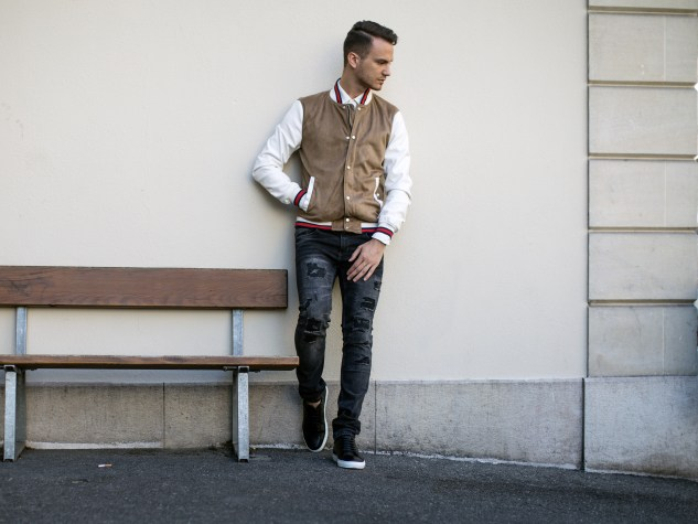 infashionity menswear fashion blog swiss henri balit photography styling varsity jacket distressed jeans