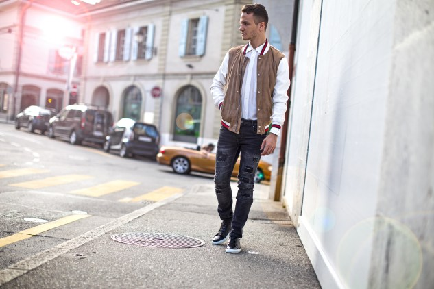 infashionity menswear fashion blog swiss henri balit photography styling varsity jacket streetstyle