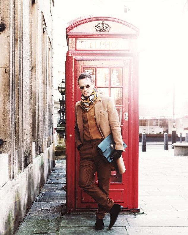 INFASHIONITY menswear fashion blog streetstyle lonfon fashion week men camel coat henri balit red phone booth man
