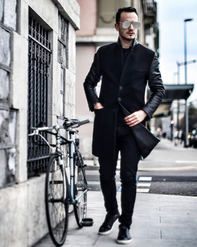 INFASHIONITY MENSWEAR SWISS FASHION BLOG HENRI BALIT ALL BLACK LOOK GENEVA LAKE PHOTOSHOOT THOM BROWNE EYEWEAR METALLIC AVIATOR MIRROR