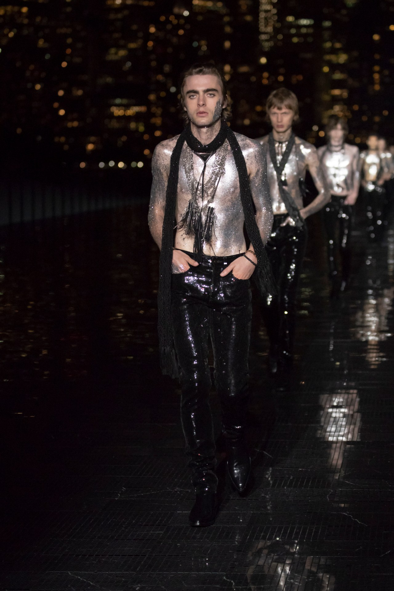 lennon gallagher saint laurent show ss19 nyc finale glitter model