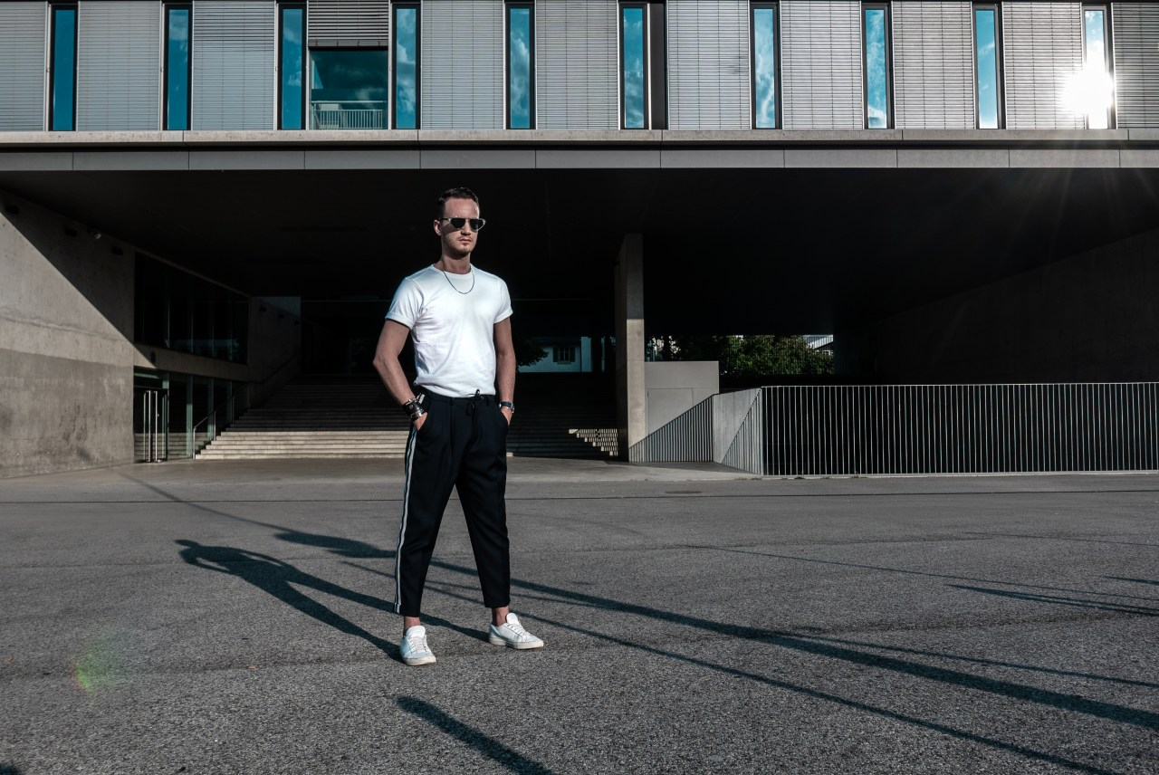 the kooples trousers contrasting bands elastic waist white t shirt common projects dior homme black tie sunglasses 2018