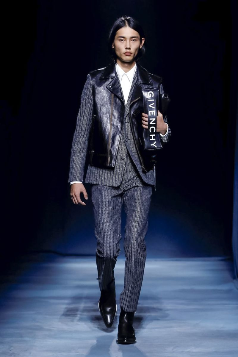 Givenchy SS19 menswear Clare Waight Keller Leather vest pinstripe suit