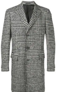 zegna check single breasted coat