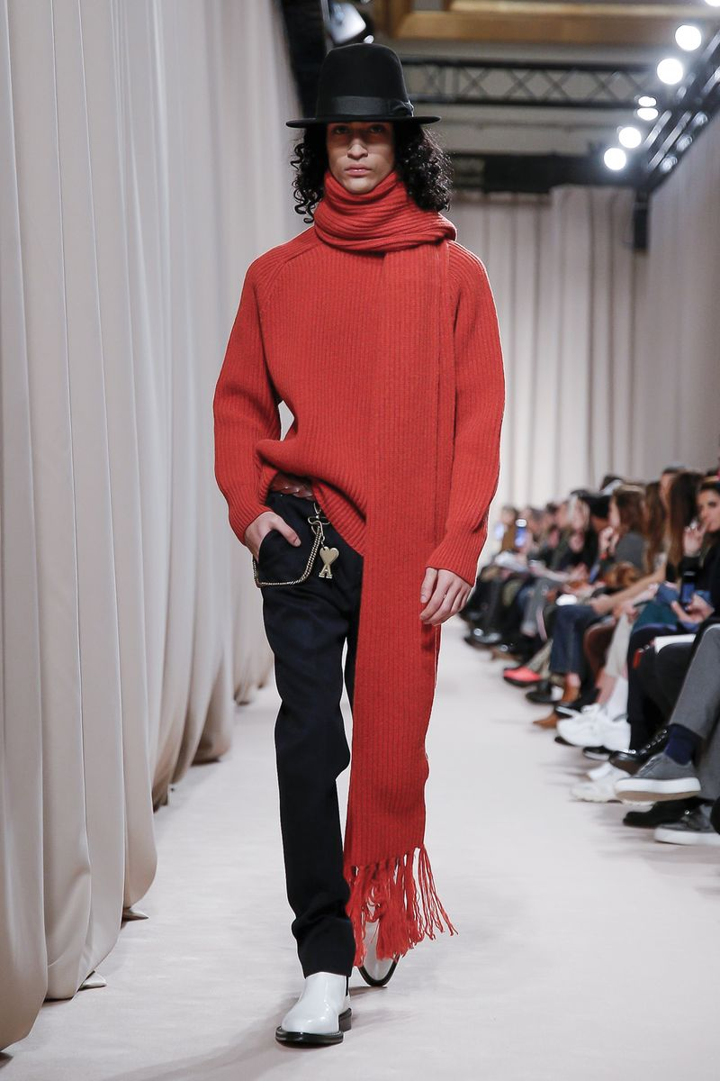 ami paris fw19 red knit scarf