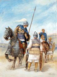 Ricostruzione grafica di soldati greco-battriani