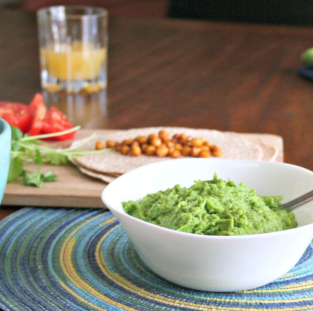 Lighter Guacamole vegan tacos peas lime guacamole green peas garlic detox cilantro avocado