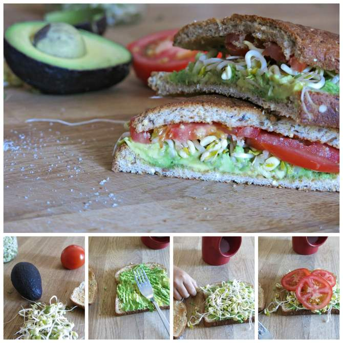 Toasted Avocado, Tomato and Sprouts tomato sprouts sandwich mung beans avocado