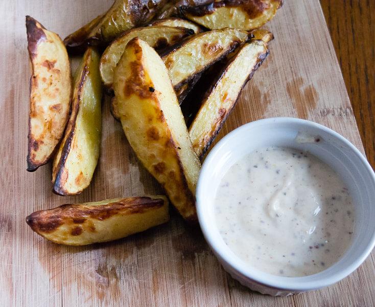 Oven Roasted Potato Fries with Dijon Dipping Sauce vegan side dish recipe potatoes potato fries food