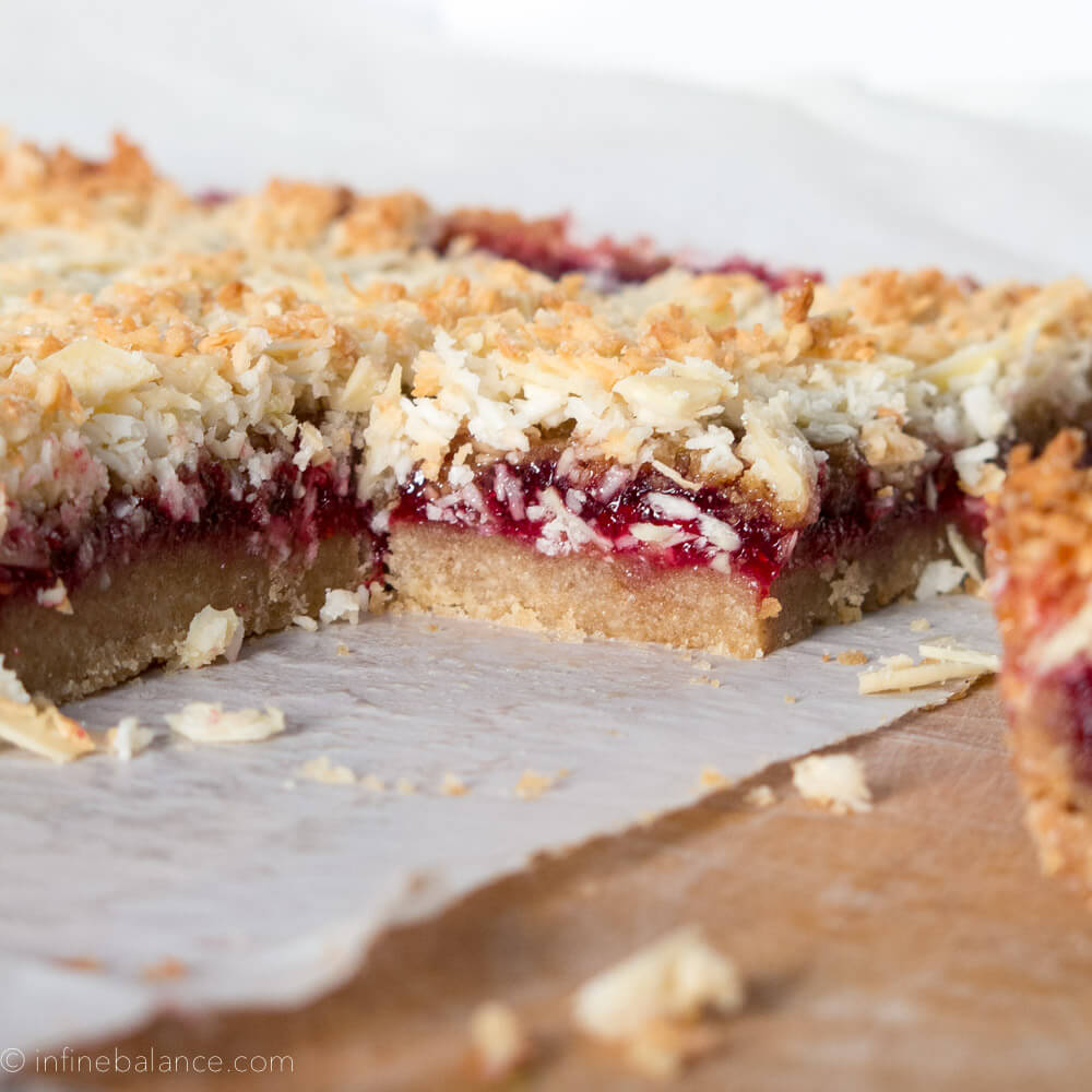 Gluten-Free Raspberry Crumb Bars  vegan raspberry pastry jam gluten-free coconut flour coconut Bake almond