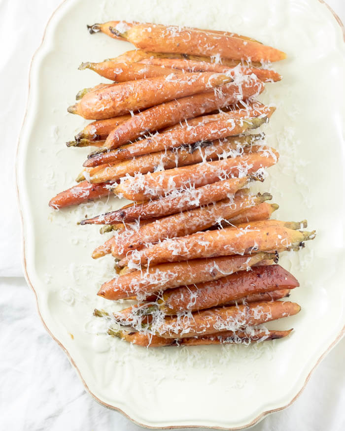 Balsamic and Garlic Roasted Carrots with Parmesan | infinebalance.com #recipe
