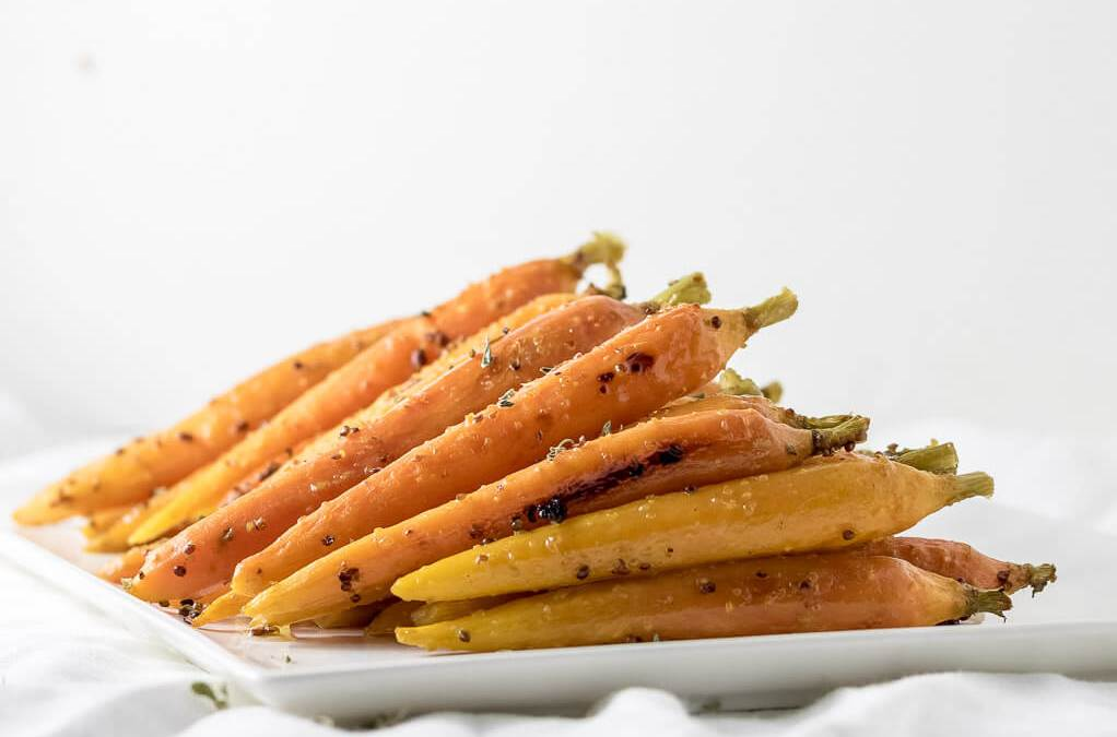 Oven Roasted Maple Glazed Carrots