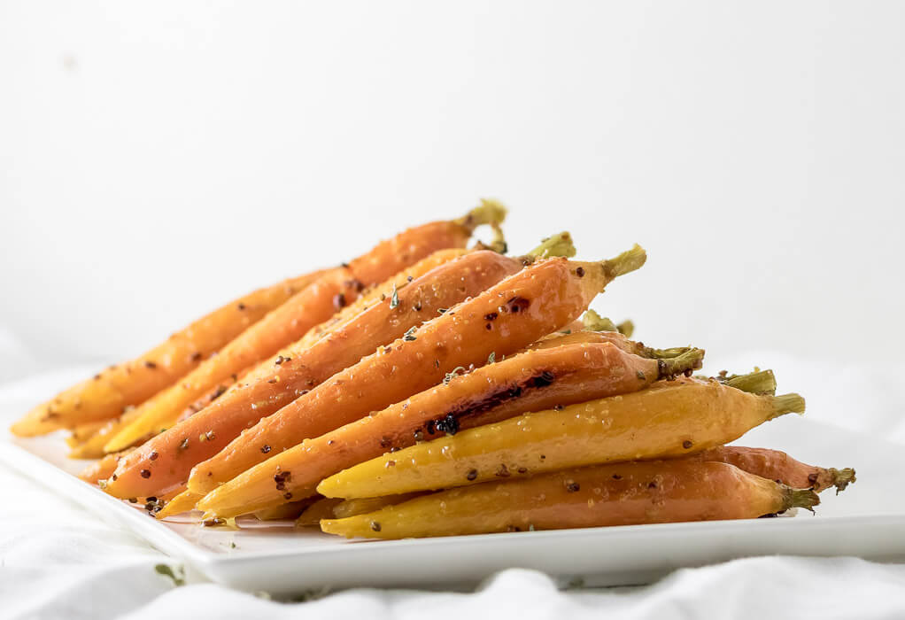 Oven Roasted Maple Glazed Carrots vegan side dish oven-roasted maple holiday fall dijon carrots