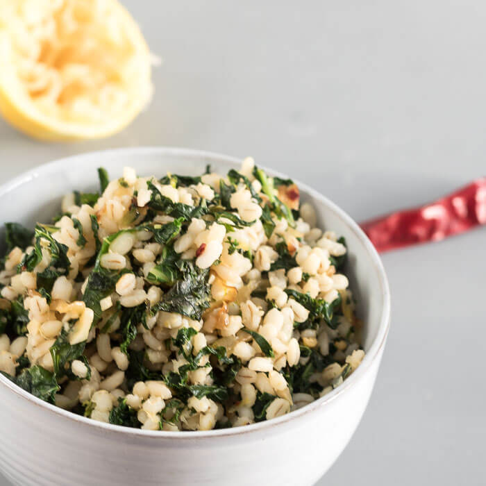 Barley with Lemon and Kale - hearty whole grains tossed with lots of flavours. A vegan recipe. Side dish or main dish.