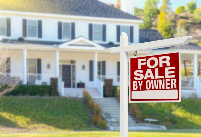For sale by owner real estate sign and beautiful house