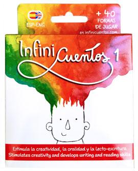 Envase del juego didactico InfiniCuentos 1, nuevo tamaño. Idea e ilustraciones de Lucia Vidal. Producido en Buenos Aires, Argentina.
