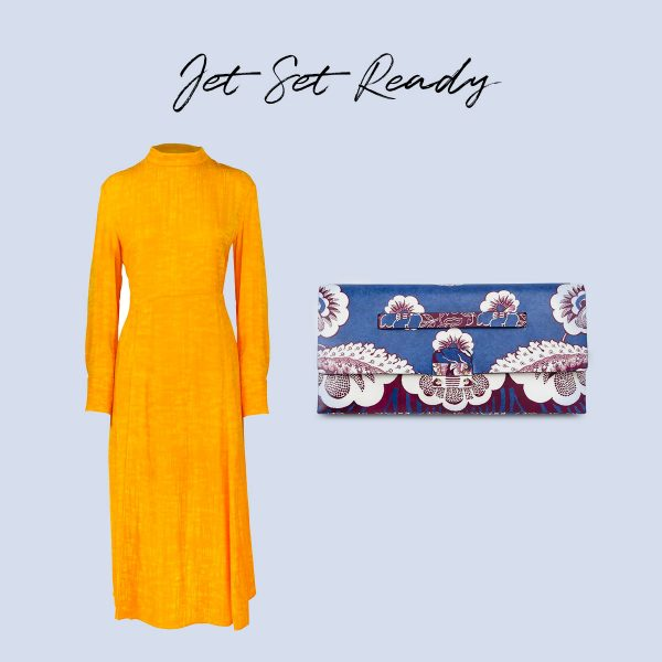From the Infinite Wardrobe: HIGH NECK SLIT DRESS by ARTE and ENVELOPE CLUTCH BLUE FLORAL by VALENTINO
