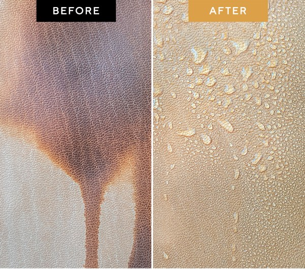 Water-Resistant Leather Before and After