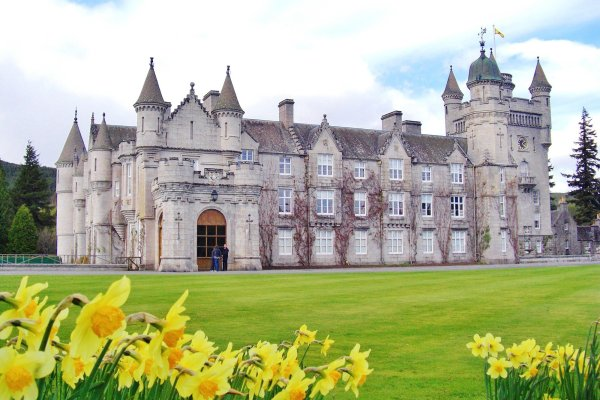 Royal Balmoral Castle with daffodils Scotland