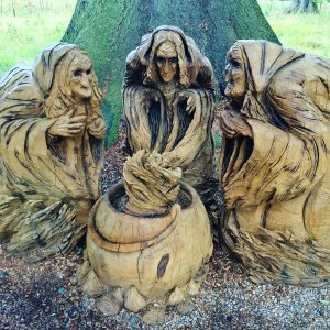 Royal Scotland - wooden carving of Shakespeare's three witches at Glamis, Scotland