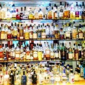 Whisky selection over multiple shelves